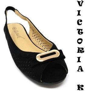 Slingback Open Toe Ballet Flats, B-2621, Black